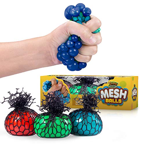 YoYa Toys Squishy Mesh Stress Balls 3 Pack - Non Toxic Rubber Sensory Balls - Ideal for Stress and Anxiety Relief Enhanced Blood Circulation Special Needs Autism and Disorders - 24 Inches