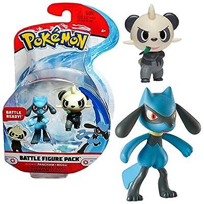 PoKéMoN Selección Battle Figures Figura de Acción   Juego de Figuras, Figuras del Juego:Pancham & Riolu por Wicked Cool Toys