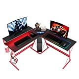 Bestier L-Shaped Gaming Computer Desk,Home Office with Cup Holder and Headphone Hook Modern Corner Desk Study Table Workstation Gaming Desk with RGB LED Lights Storage Fashion Red