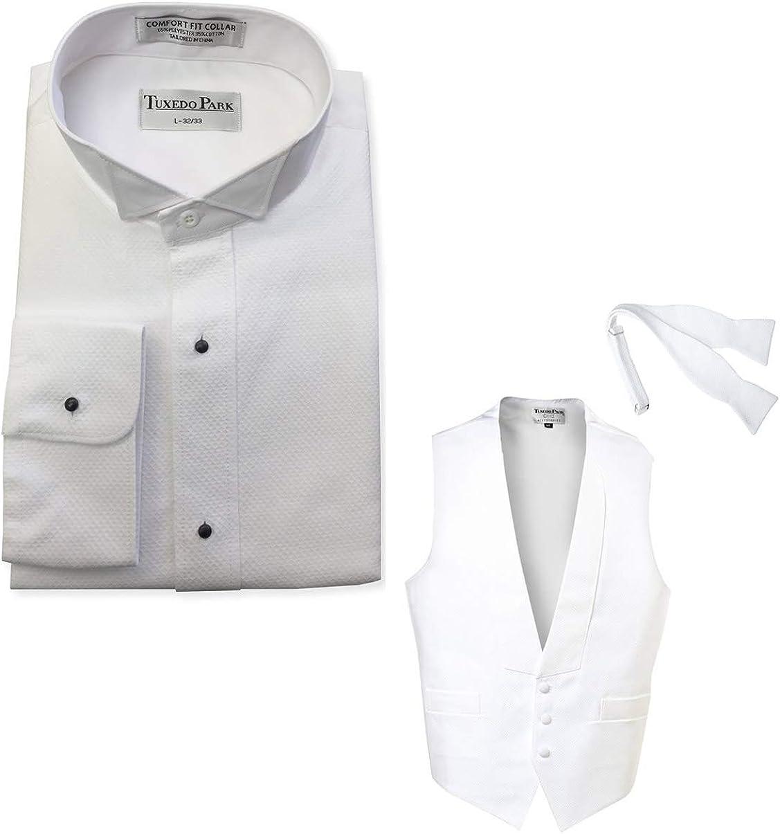 EZ Tuxedo White Pique Package - Pique Wing Shirt, Pique Vest and Self Tie Bow Tie