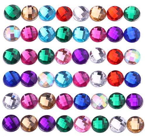 200pcs 12mm Round Craft Gems Jewels Acrylic Flatback Rhinestones Gemstone for Arts and Crafts Jewels