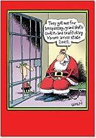 Santa in Jailクリスマスユーモアカード 1 Christmas Card & Envelope (SKU:5835)