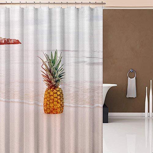 DFGHTH Duschvorhang Klein (240 X 180 cm) Antischimmel Waschbar Stoff Badezimmer Vorhang Polyester Ananas Mit Duschvorhang Haken Für Badezimmerdusche