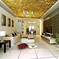 QQYYYT ウォールアートポスター-ゴールデン3D天井壁画壁紙ゴールドパーティクルシーリングアーティストホームデコレーションポスターウォールデコレーションペインティング