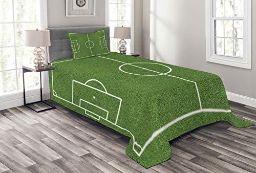 ABAKUHAUS Teen Zimmer Tagesdecke Set, Fußball-Stadion-Feld, Set mit Kissenbezug Sommerdecke, für Einzelbetten 170 x 220 cm, Fern grün-weiß