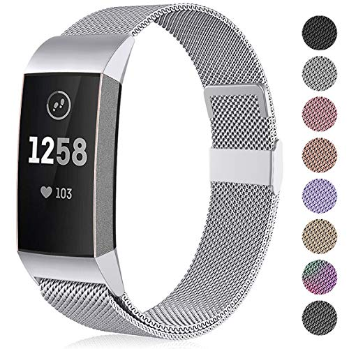 Funbiz Compatible with Fitbit Charge 3 Strap/Charge 4 Strap, Metal Replacement Band Wristbands Compatible with Fitbit Charge3/Charge 4/Charge 3 SE, Men Women Small Silver