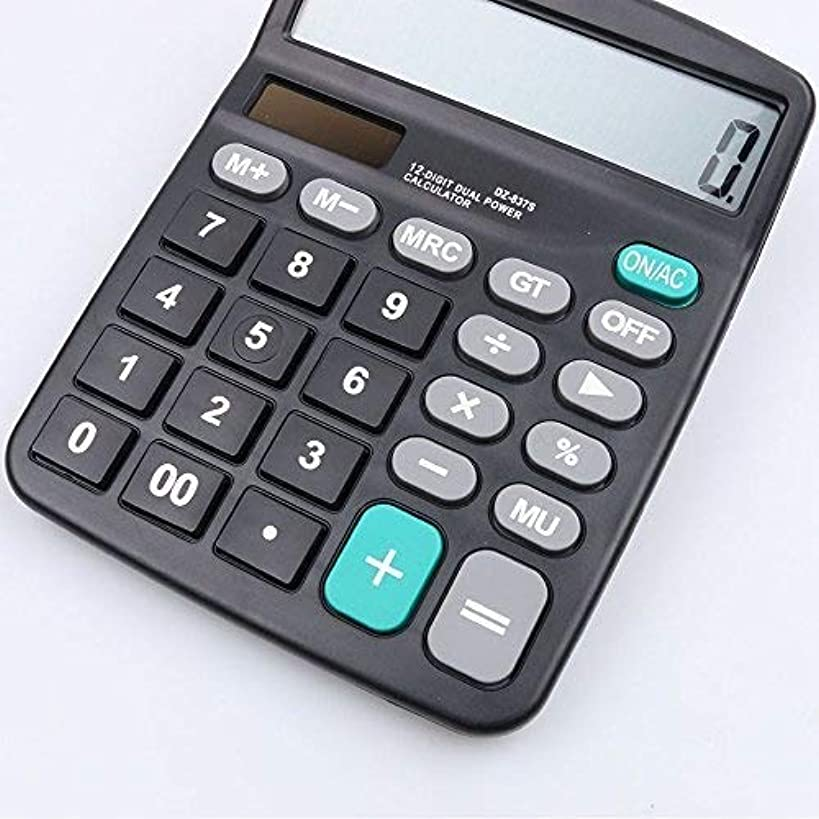 Tehner(TM) Solar Calculator Business Work Calculate Commercial Tool Battery or Solar 2in1 Powered 12 Digit Electronic Calculator and Button