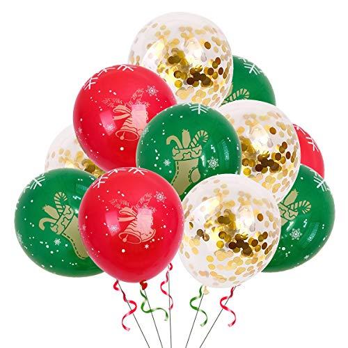 NATUCE 34 Stück Weihnachtsballons Latex Luftballons für Party Dekoration , 12 Zoll Gold Konfetti Luftballons Weihnachtsmann Schneeflocke Rot und Grün Bedruckte Ballons, Xmas Dekorativer Ballon Set