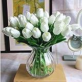 1 x tulipani finti fiori bianchi veri al tatto, fiori artificiali per matrimoni, feste, casa, ufficio, camera hotel, decorazione fai da te e composizioni floreali