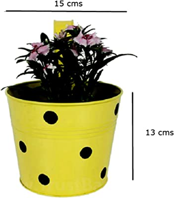 Cocogarden Metal Round Railing Planters Dotted(Yellow)