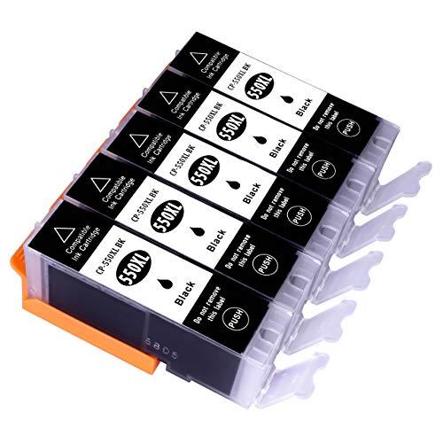 ESMOnline 5 komp. Black XL Druckerpatronen Canon Pixma MG5450 MG5550 MG5650 MG5655 MG6350 MG6450 MG6650 MG7100 MG7150 MG7550 MX725 MX925 iP7200 iP7250 iP8750 iX6850 (PGI-550)