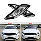 Get Qiilu Exterior Hood Air Vent Outlet Wing Trim Fit for Land Rover Range Rover Evoque 12-18 Black & Silver Just for $24.39