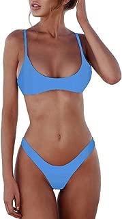 Women's Solid Scoop Neck Push up Padded Brazilian Thong Bikini Swimsuit