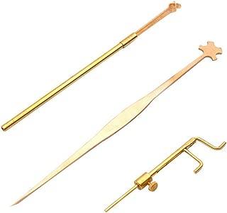 Liyafy Violin Luthier Install Repair Tool Kit Sound Post Gauge & Retriever Clip & Setter Brass