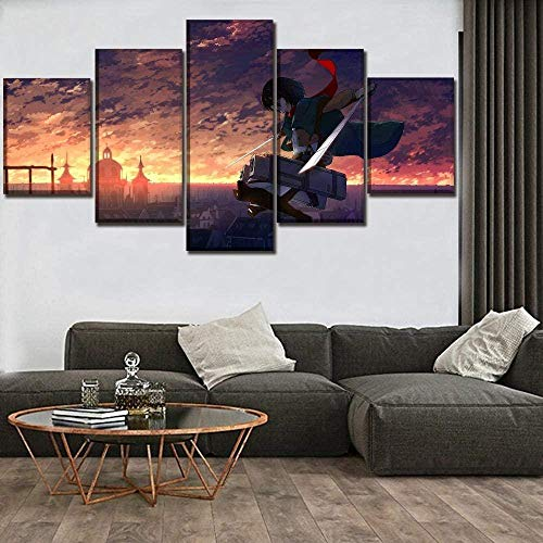 5 piezas cuadro en lienzo Cuadro compuesto por 5 lienzos impresos en HD, utilizados para decoración del hogar y carteles Dynamic Shingeki No Kyojin Mikasa Ackerman (150x80cm sin marco)