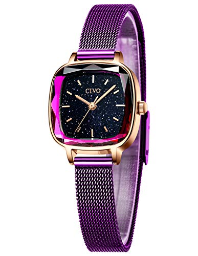 CIVO Damenuhr Lila Uhr Damen Einfach Wasserdicht Armbanduhr Lässige Analoge Edelstahl Mesh Uhren für Frauen Damen