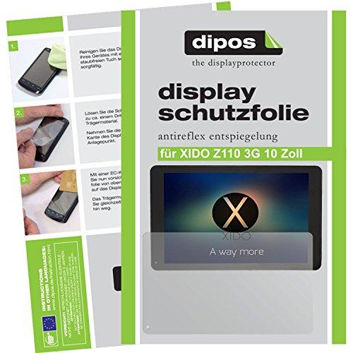 dipos I 2X Schutzfolie matt kompatibel mit XIDO Z110 3G 10 Zoll Folie Displayschutzfolie
