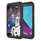Galaxy J3 Emerge Case,J3 Prime/J3 2017/J3 Mission/Sol 2/Amp Prime 2 Case, Rossy Hybrid TPU Plastic Dual Layer Armor Defender Phone Case for Samsung Galaxy J3 2017,Hipster Llama Alpaca Space