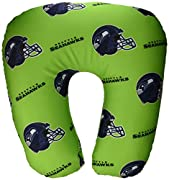 """Team colored pillow decorated with team logo Comfortable pillow; ideal for travel Measures 12""""W x 13""""L x 3""""D Spot clean only Made of Spandex Shell with Polystyrene Beads fill"""