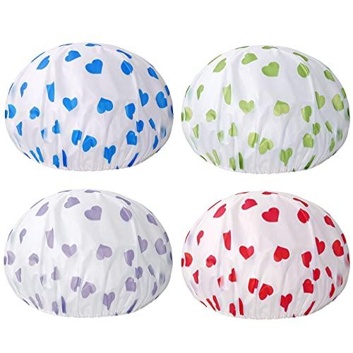 Keeygo Shower Cap, 4-Pack Shower Caps for Women Long Hair Reusable EVA Plastic Waterproof Bath Hair Cap,Deep Conditioning Salon Spa