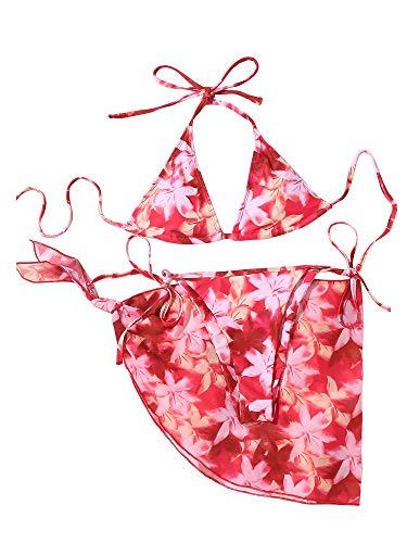 Vialogry 3 piezas Tie Dye Underwire Bikini Set sin mangas Floral Print Tops+Bottoms+Cover Up Set para las mujeres