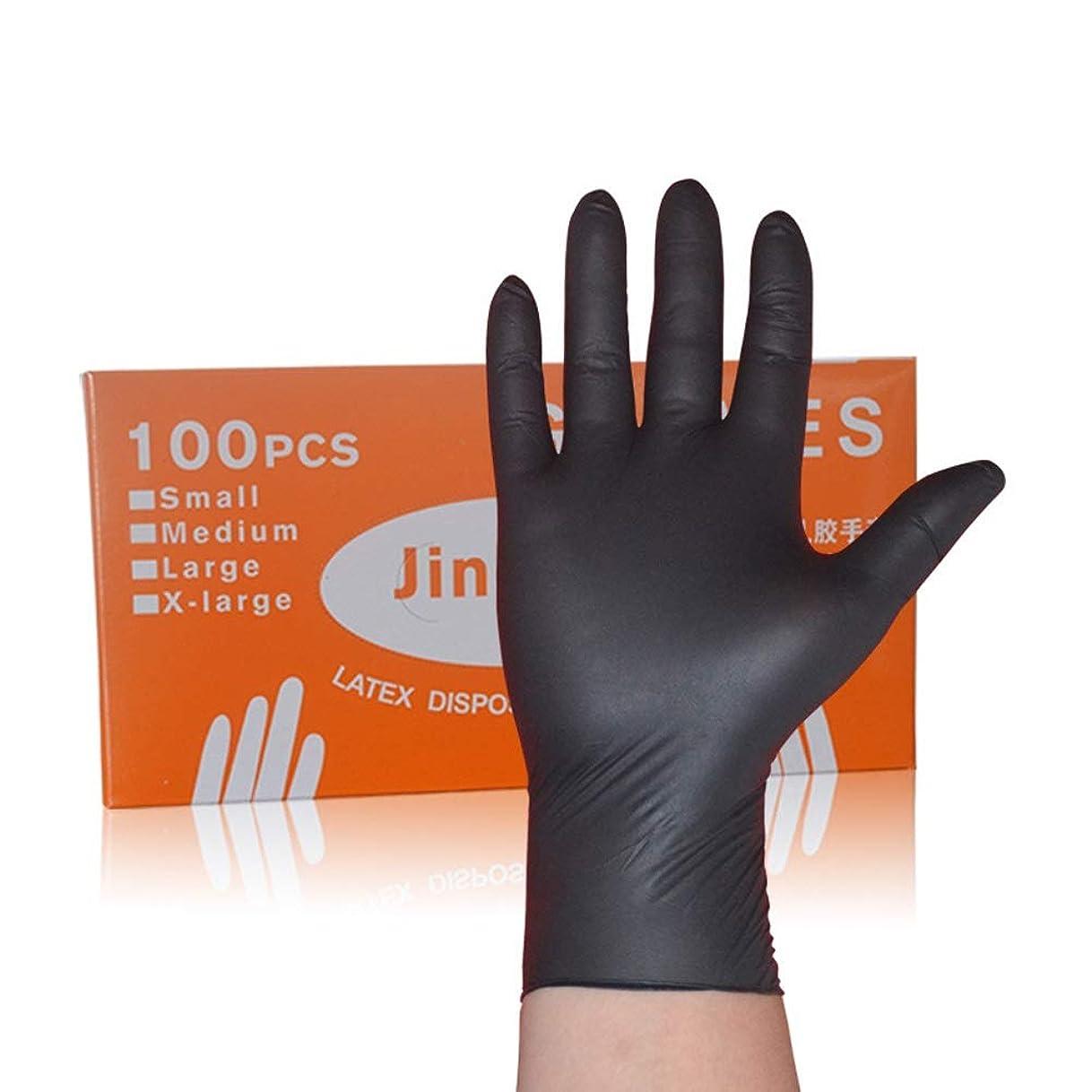 ラグ風変わりなどうやってNbr使い捨て手袋ラテックスニトリル帯電防止ゴム実験機械美容院タトゥー手袋 YANW (色 : ブラック, サイズ さいず : L l)