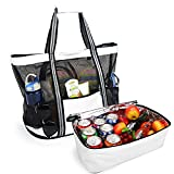 Yodo Large Beach Tote Bag with Detachable Insulated Cooler for Picnic Grocery Pool Party