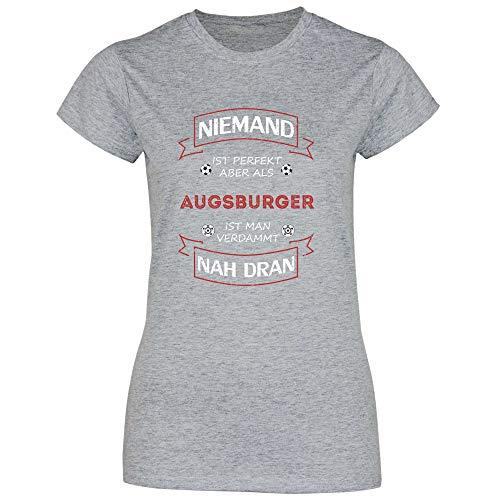 wowshirt Damen T-Shirt Fußball Trikot Augsburger Augsburg, Größe:M, Farbe:Sport Grey (Heather)