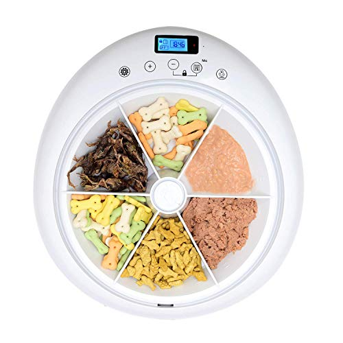 QPETS 6 Meals Automatic Cat Dog Feeder Auto Pet Feeder with Programmable Timer,Auto Dry and Wet Food Dispenser for Cat and Dog Voice Recording and Playing