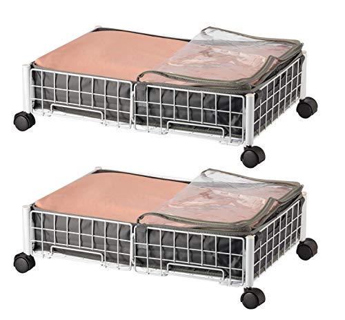 Vorshape Under Bed Clothing Storage Cart Rolling Drawers Shoe Organizer Underbed Basket with Wheels,2 Pack,White