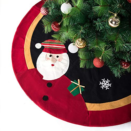 ARCCI 48' Christmas Tree Skirt Mat with Santa Claus and Snowflake Pattern, Double Layers Xmas Tree Ornaments, Classic Holiday Decorations