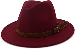 0dc0a0a700bcb Lisianthus Men   Women Vintage Wide Brim Fedora Hat with Belt Buckle