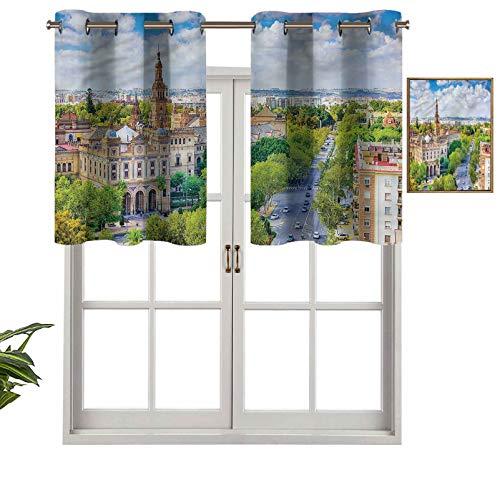 Hiiiman Cenefa recta de cortina con ojales de primera calidad para paisajes urbanos de Sevilla, juego de 2, 137 x 60 cm, ideal para cualquier habitación y dormitorio