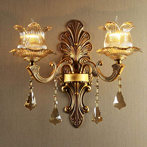 Lámpara de pared de cristal de vela europea lámpara de pared de cristal soporte de aleación Antigua estadounidense iluminación de sala de estar moderna lámpara de pared de cama de dormitorio(42x40cm)