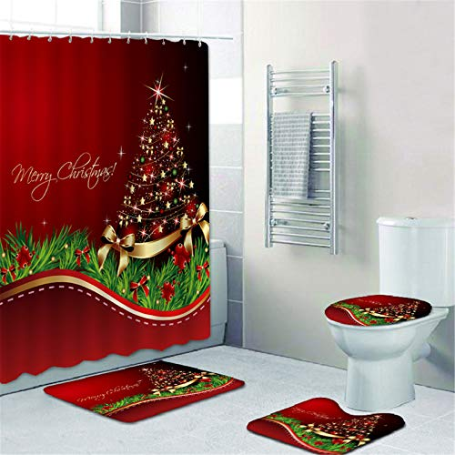 5 Pcs Merry Christmas Shower Curtain Set With Non-Slip Rug, Toilet Lid Cover And Bath Mat, 1 Survivor Pendant,Xmas Snowman Shower Curtains With 12 Hooks, Christmas Shower Curtain Sets For Bathroom