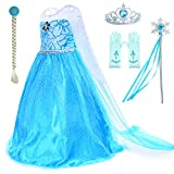 Party Chili Princess Costumes Birthday Party Dress Up for Little Girls with Wig,Crown,Mace,Gloves Accessories 10-12 Years(150cm)