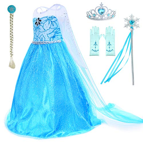 Party Chili Princess Costumes Birthday Party Dress Up for Little Girls with Wig,Crown,Mace,Gloves Accessories 6T 7 (130cm)