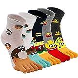 ZAKASA Womens Toe Sock Cotton Five Finger Running Ankle Novelty Socks (Animal cat, US shoe 6-9)