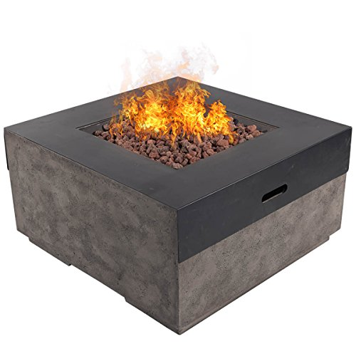 "DIAN 34"" Outdoor Patio Gas Fire Pit Modern Contemporary Concrete Propane Metal..."