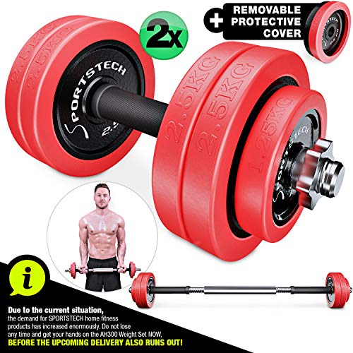 Sportstech 2in1 innovative dumbbell set with silicone cover, dumbbells & barbell in one, dumbbells in 20kg / 30kg from cast iron, effective fitness strength training, dumbbell for your home