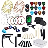 Auihiay 57 Pieces Guitar Strings Accessories Kit Including Acoustic Guitar Strings, Guitar Tuner, Capo, Picks, Guitar String Winder, Cutter, Bridge, Guitar Basic Strap and Storage Box
