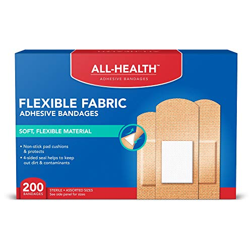 All Health Flexible Fabric Adhesive Bandages, Assorted Sizes Variety Pack, 200 ct | Flexible...