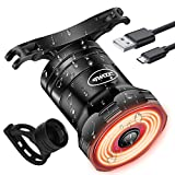 CHYBFU USB Rechargeable Smart Bike Tail Light, Ultra Bright Brake Sensing Rear Bike Light, Auto On/Off Light Sensing, IPX6 Waterproof with 6 Light Modes LED Bicycle Back Lights for Any Road Bikes