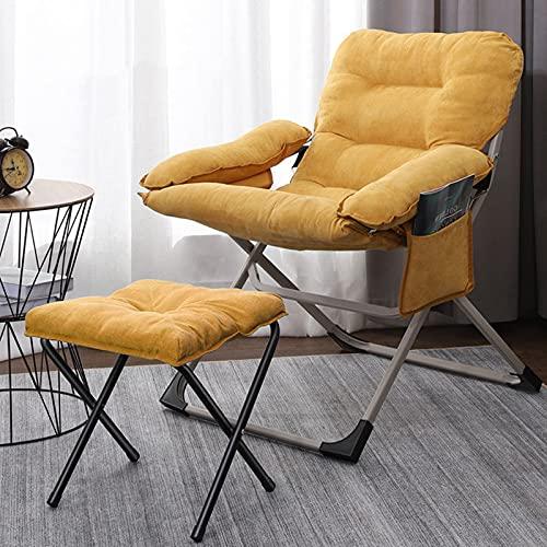 Sillón de Silla de salón Plegable con Taburete,sillón de salón con cojín de algodón,salón de Descanso,Silla de TV Moderna,sillón de salón de Oficina,Silla Amarilla
