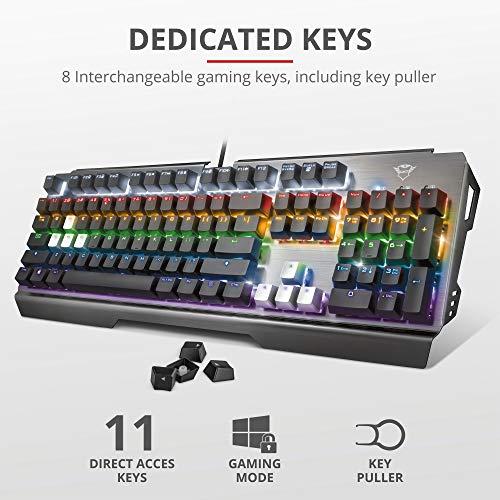 Trust Gaming GXT 877 Scarr Mechanische Tastatur, QWERTY + Nederlandse Toetsenbord - Grau