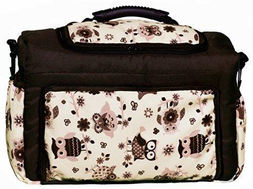 Wickeltasche KIM Baby-Joy XXL XXXL Übergroß Windeltasche Pflegetasche Babytasche Tragetasche: Farbe: TK-45 Braun Creme Eule 10