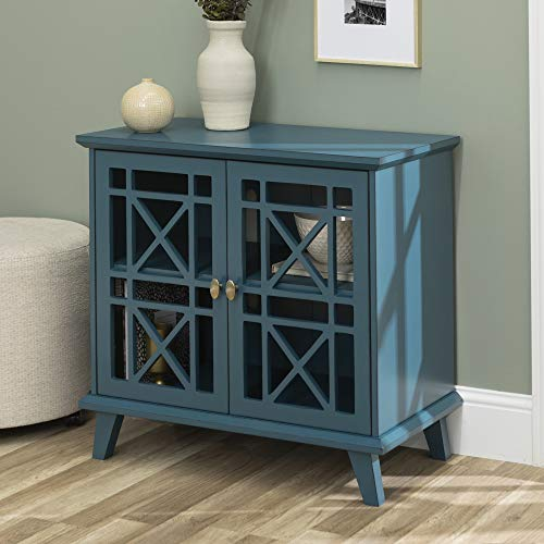 Walker Edison Furniture Company Wood Accent Buffet Sideboard Serving Storage Cabinet with Doors Entryway Kitchen Dining Console Living Room, 32 Inch, Blue