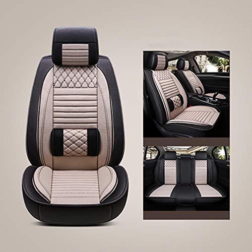 HUNDAN Leder Auto Universal Autositzbezüge 5 Sitze Komplettset Für Mitsubishi Pajero 2 3 4 Vollsport Carisma Montero Sport Outlander 3 XL of, Beige Standard