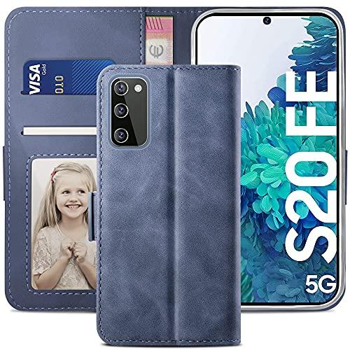 YATWIN Funda Samsung Galaxy S20 FE, Cuero Premium Flip Folio Carcasa para Samsung S20 FE Fan Edition, Soporte Plegable, Ranura para Tarjeta, Cierre Magnético, Compatible para Galaxy S20 FE, Azul Claro