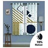 YUNSW Geometrische Bronzing Graffiti Schatten Vorhänge, Garten Wohnzimmer Schlafzimmer Küche Schallschutzvorhänge, Perforierte Zweiteilige Vorhänge - 2